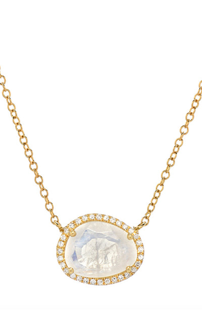 MOONSTONE & DIAMONDS NECKLACE | 14K gold