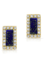 Load image into Gallery viewer, Stone & Pave Stud<br /><i><small>14K Yellow Gold with Lapis Lazuli & White Diamonds</small></i><br />