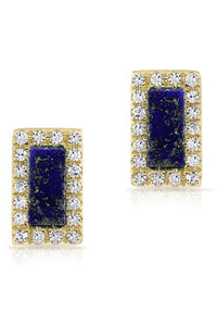 Stone & Pave Stud<br /><i><small>14K Yellow Gold with Lapis Lazuli & White Diamonds</small></i><br />