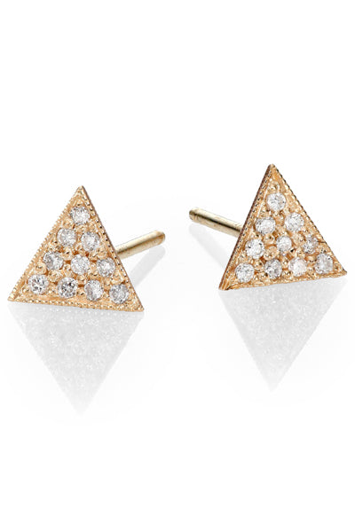 Triangle Pave Stud<br /><i><small>14K Rose Gold with White Diamonds</small></i><br />