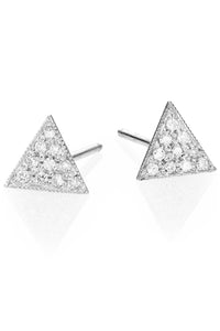 Triangle Pave Stud<br /><i><small>14K White Gold and White Diamonds</small></i><br />