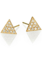 Load image into Gallery viewer, Triangle Pave Stud<br /><i><small>14K Yellow Gold with White Diamonds</small></i><br />