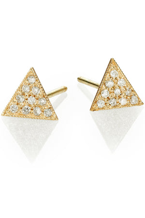 Triangle Pave Stud<br /><i><small>14K Yellow Gold with White Diamonds</small></i><br />