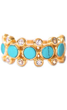 Load image into Gallery viewer, Rebecca Ring<br /><i><small>18K Gold Plated with Turquoise & White Topaz</small></i><br />