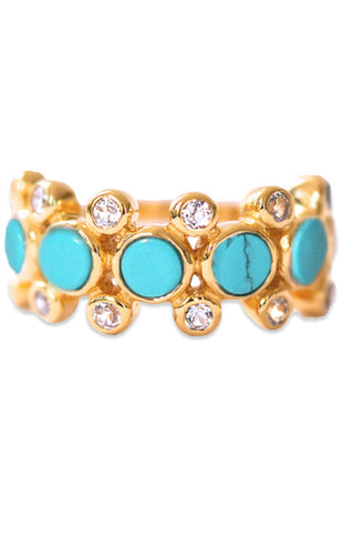 Rebecca Ring<br /><i><small>18K Gold Plated with Turquoise & White Topaz</small></i><br />