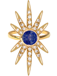 Sunburst Ring<br /><i><small>18K Gold Plated with Lapis Lazuli & White Topaz</small></i><br />