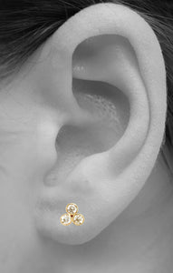 Trio Diamond Stud<br /><i><small>14K Yellow Gold with White Diamonds</small></i><br />