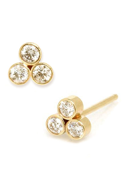 Trio Diamond Stud<br /><i><small>14K Yellow Gold with White Diamonds</small></i><br /> - Eddera