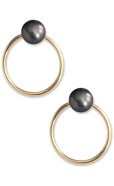 Unity Pearl Earrings<br /><i><small>14K Yellow Gold with Black Pearls</small></i><br /> - Eddera