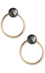 Unity Pearl Earrings<br /><i><small>14K Yellow Gold with Black Pearls</small></i><br />