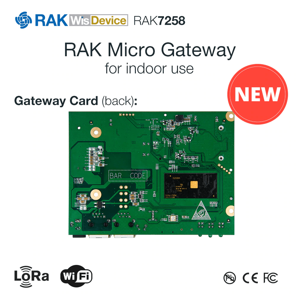 RAK7258 LORAWAN GATEWAY SX1301, 8 CHANNELS WITH WIFI