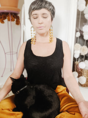 Meditating with Cat | Mining for Soul