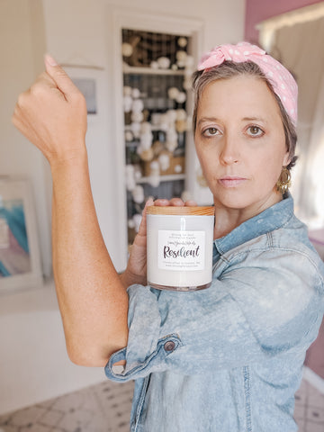 Rosie the Riveter inspired shoot with the latest candle addition | Mining for Soul