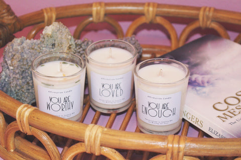 you are worthy, loved, enough affirmation candles