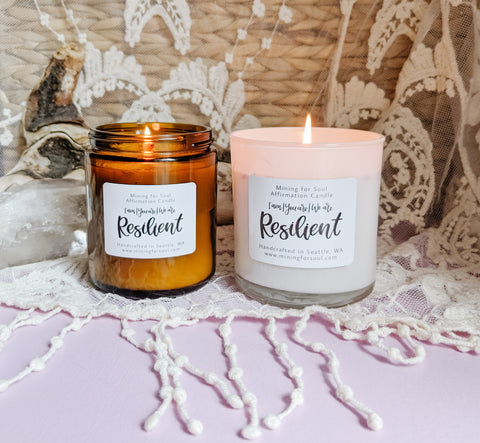 Resilient affirmation candles glowing | Mining for Soul