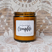 You Are Complete Affirmation Candle in Amber Glass Alt View | Mining For Soul