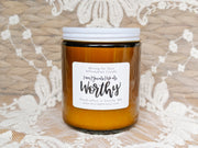 """Worthy"" Affirmation Candle Amber Glass + Digital Guidebook"