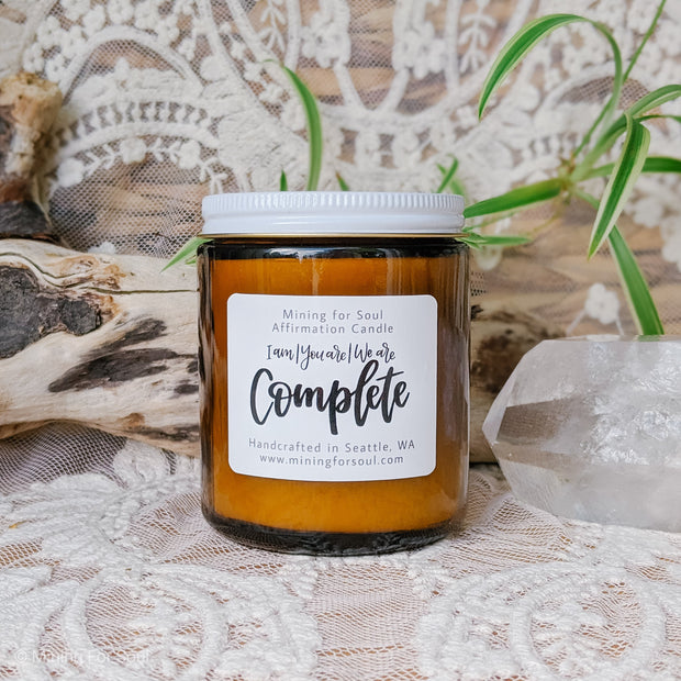 You Are Complete Affirmation Candle in Amber Glass | Mining For Soul