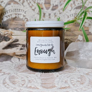 You Are Enough Affirmation Candle in Amber Glass | Mining For Soul