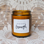 You Are Enough Affirmation Candle in Amber Glass Alt View | Mining For Soul