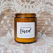 You Are Loved Affirmation Candle in Amber Glass Alt View | Mining For Soul