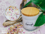 """Enough"" Affirmation Candle White Glass + Digital Guidebook - Mining For Soul"