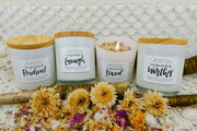 Four Affirmation Candle Set in White Glass - Mining For Soul