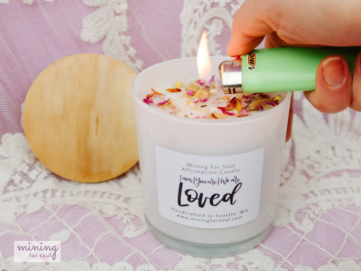 """Loved"" Affirmation Candle White Glass + Digital Guidebook - Mining For Soul"