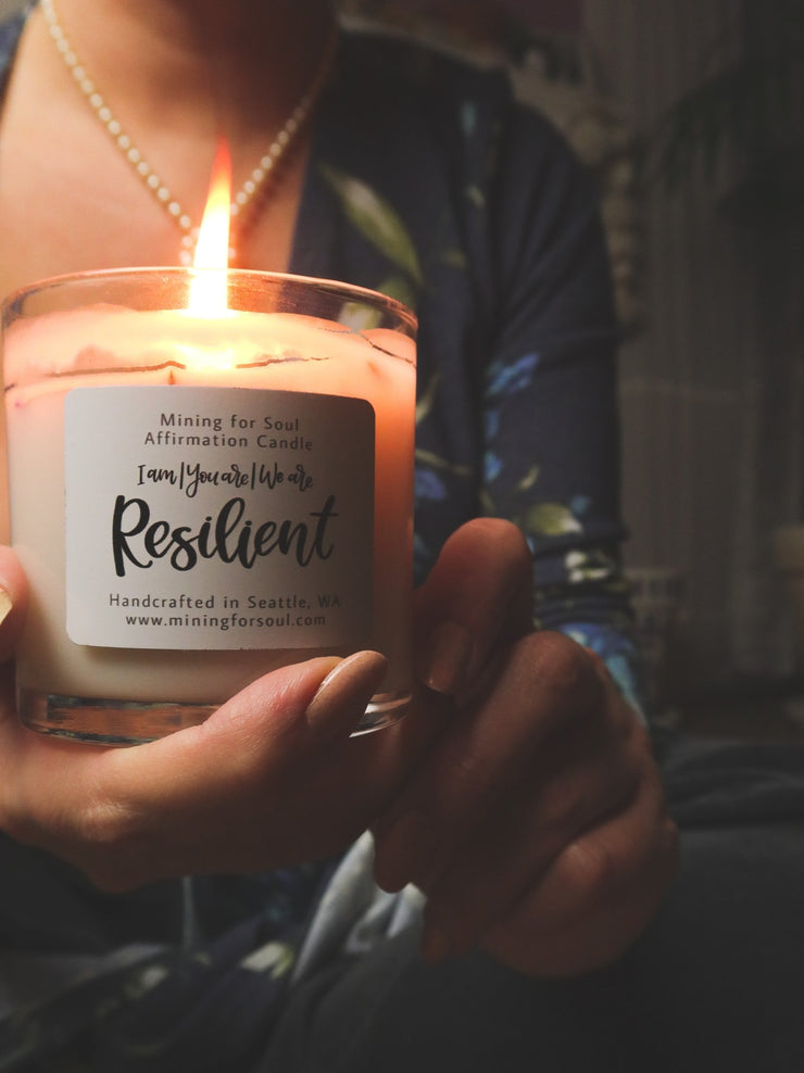 """Resilient"" Affirmation Candle - Clear Glass - Mining For Soul"