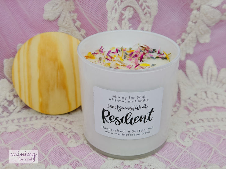 """Resilient"" Affirmation Candle White Glass + Digital Guidebook - Mining For Soul"