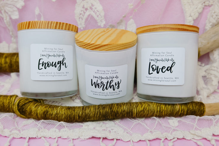 Three Affirmation Candle Set in White Glass - Mining For Soul