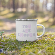 You Are Enough Mug 12oz - White Enamel w/ Silver - Mining For Soul