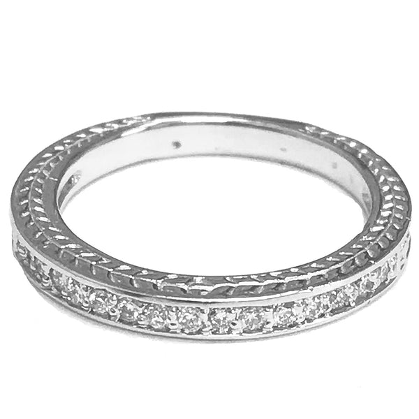 Antique look pave diamond wedding ring - EMPEROR JEWELRY CO L.L.C