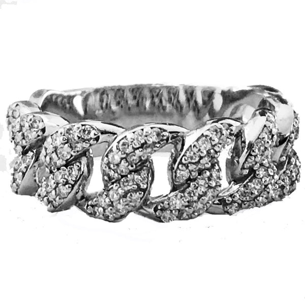 Chain link pave' diamond  ring - EMPEROR JEWELRY CO L.L.C