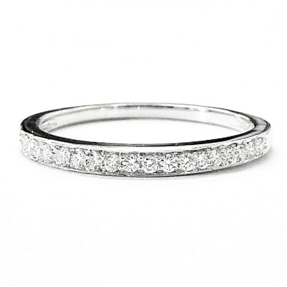 Thin pave diamond  wedding, stackable ring - EMPEROR JEWELRY CO L.L.C