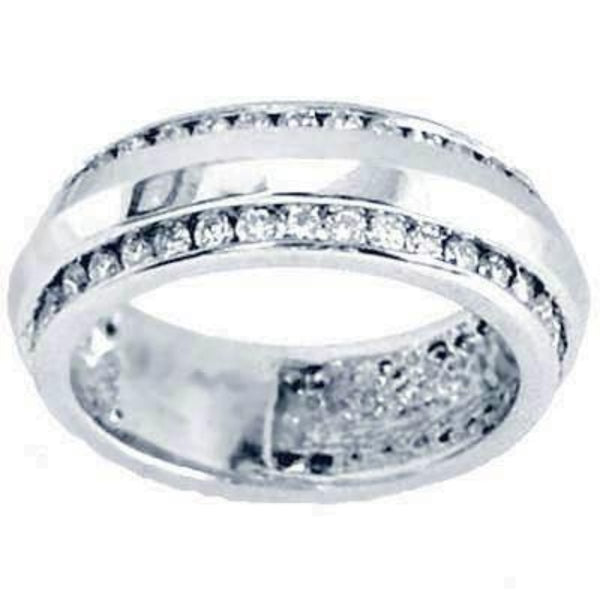 Two row channel set diamond  wedding ring - EMPEROR JEWELRY CO L.L.C