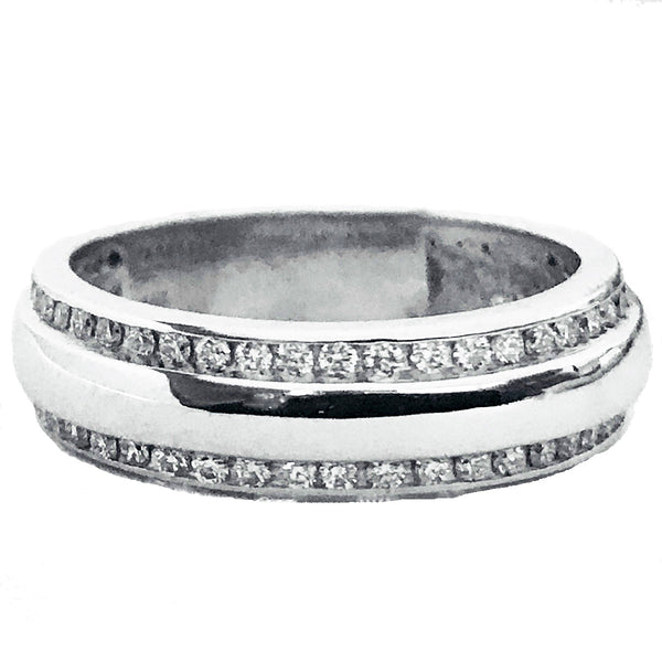 Men's two row channel set diamond wedding ring. - EMPEROR JEWELRY CO L.L.C