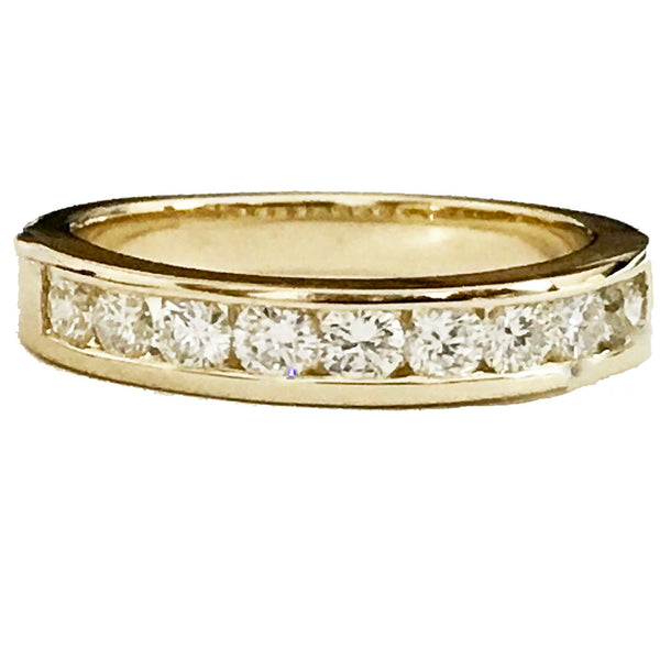 Channel set  round diamond wedding ring - EMPEROR JEWELRY CO L.L.C