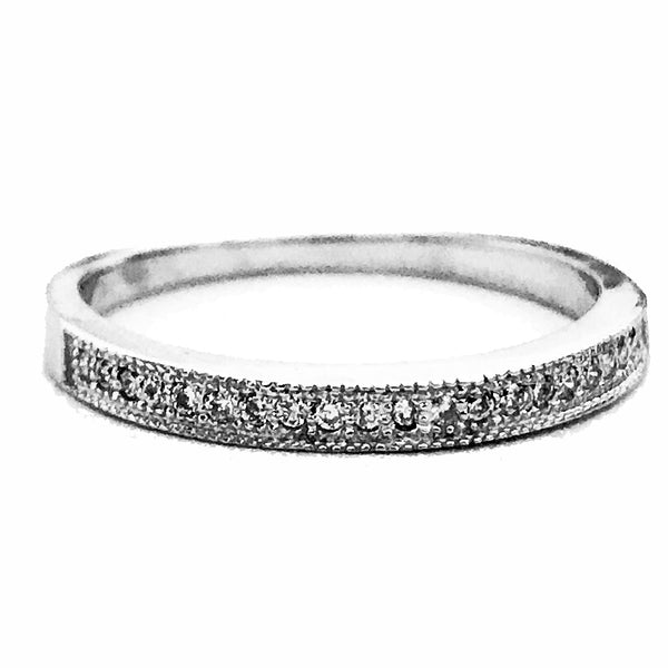 Milgrain dainty  pave set diamond wedding Anniversary ring - EMPEROR JEWELRY CO L.L.C