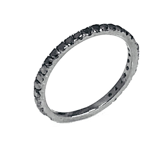 Prong black diamond wedding anniversary ring - EMPEROR JEWELRY CO L.L.C