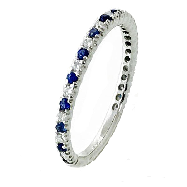 Alternate sapphire and diamond one row wedding ring - EMPEROR JEWELRY CO L.L.C