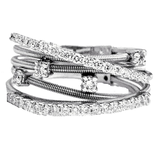 Designer pave and prong set diamond  layered ring - EMPEROR JEWELRY CO L.L.C