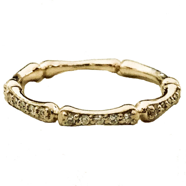 Bone style pave' diamond  wedding, anniversary ring - EMPEROR JEWELRY CO L.L.C