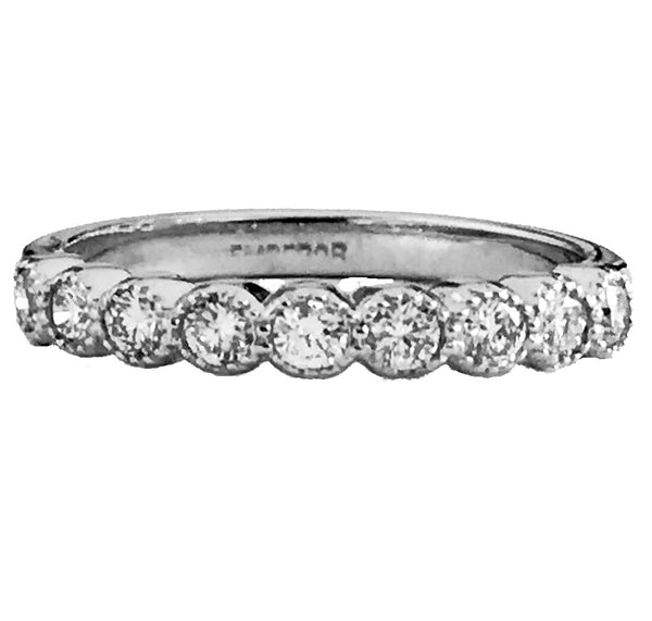 Milgrain burnish set diamond wedding ring - EMPEROR JEWELRY CO L.L.C