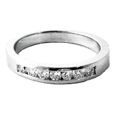 Channel set round diamond wedding and stackable ring - EMPEROR JEWELRY CO L.L.C