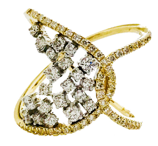 Pave and prong set designer diamond  ring - EMPEROR JEWELRY CO L.L.C