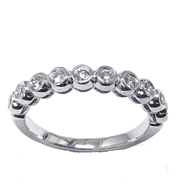 Bezel set diamond anniversary, wedding ring - EMPEROR JEWELRY CO L.L.C