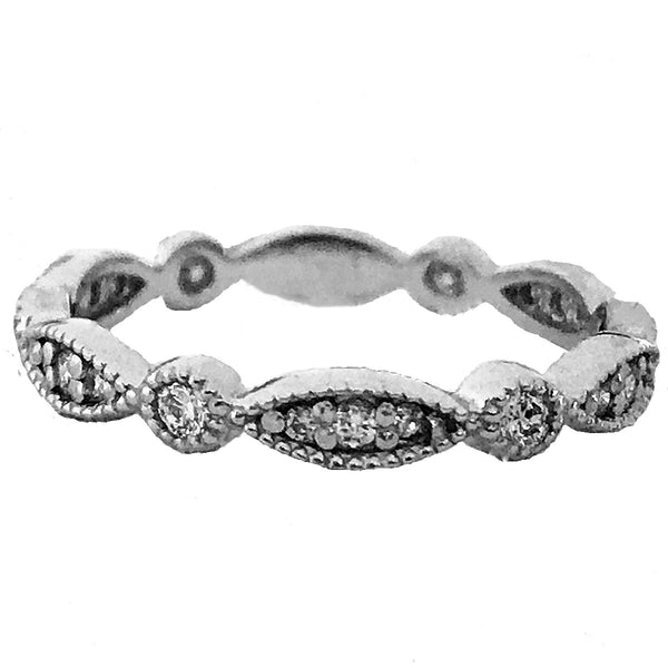 Milgrain marquis pave' and burnish wedding diamond  , anniversary ring - EMPEROR JEWELRY CO L.L.C