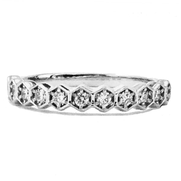 Hexagon prong diamond wedding band - EMPEROR JEWELRY CO L.L.C