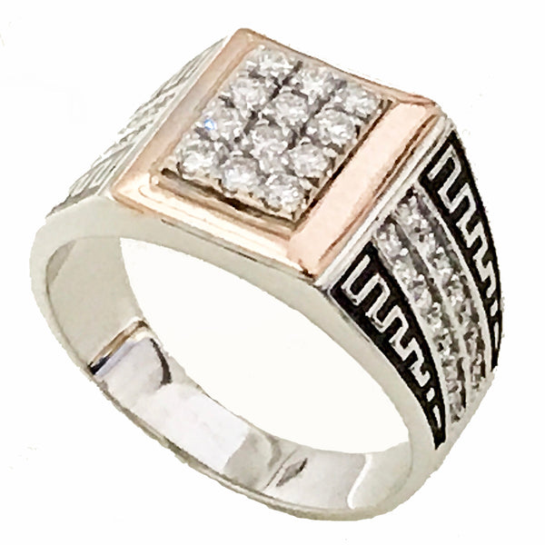 Men's two tone pave diamond enamel ring - EMPEROR JEWELRY CO L.L.C